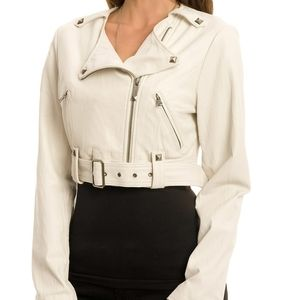 Ladies Guess Cropped Leather Jacket